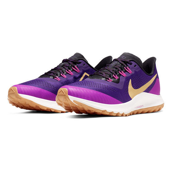 Nike Air Zoom Pegasus 36 Trail Womens Running Shoes (Voltage Purple-Celestial Gold-Oil Grey)