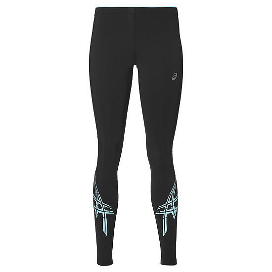 1e30713dc0c280 Asics Stripe Womens Running Tights (Black-Aqua) | Direct Running