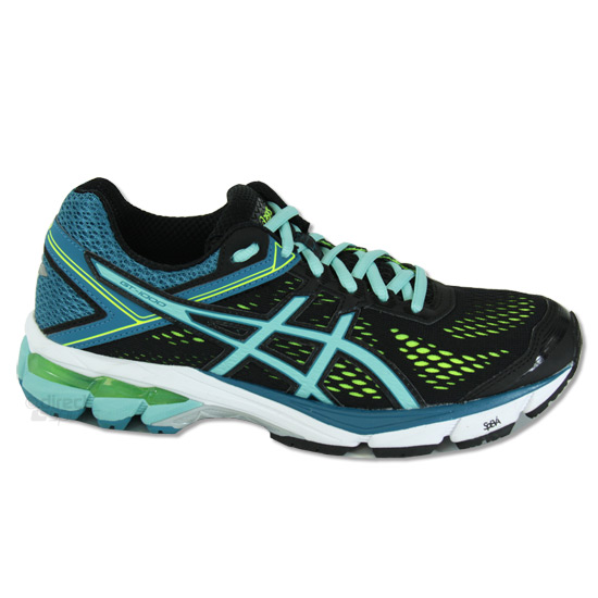 Asics GT 1000 4 Womens Running Shoes (Black-Blue-Flash Yellow ... efe51475b