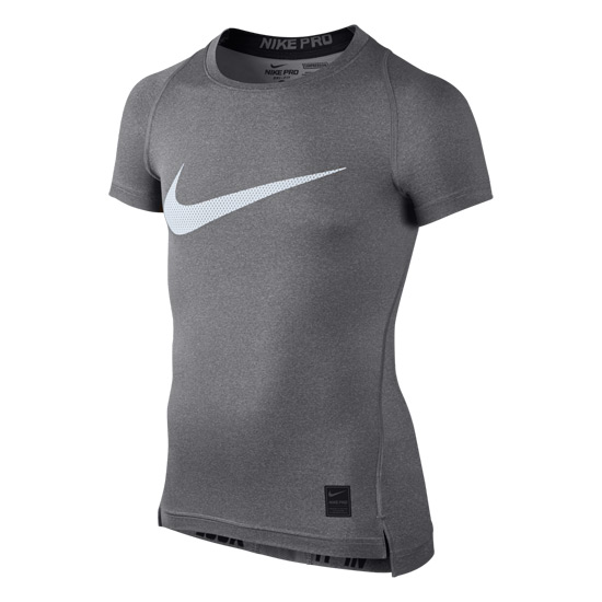 Nike Pro Boys Short Sleeve Compression Top (Carbon Heather)