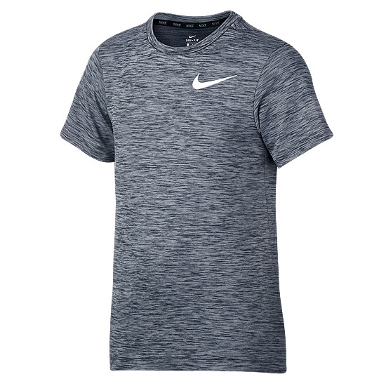 Nike Dri-Fit Junior Short Sleeve Top (Black-Wolf Grey)