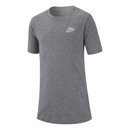 Nike Swoosh Futura Junior Tee (Dark Grey Heather-White)