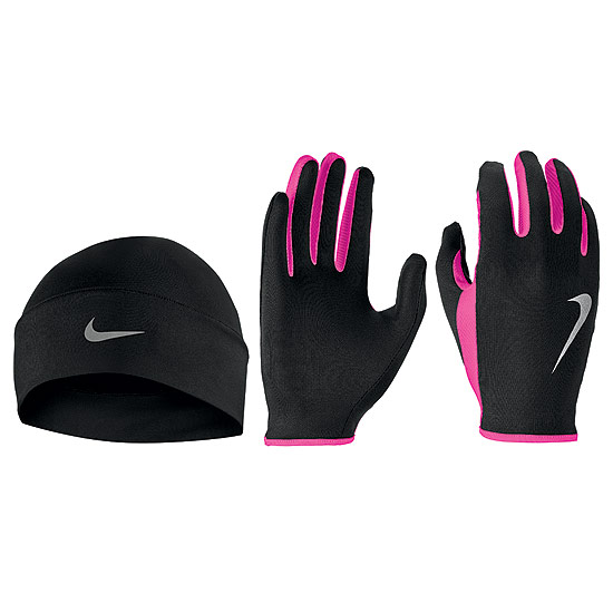 Nike Run Dry Womens Hat And Glove Set (Black-Hyper Pink-Silver)