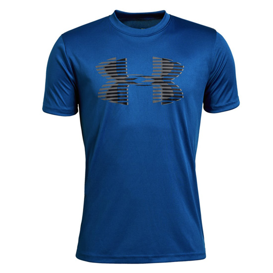 Under Armour Boys Big Logo SS Tech Tee (Royal-Black-Graphite)