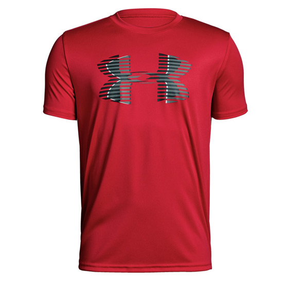 Under Armour Boys Big Logo SS Tech Tee (Red-Graphite-Black)